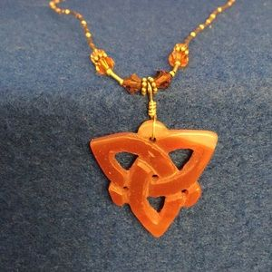 Jewelry - Celtic Trinity Knot Necklace. Stone knot beaded